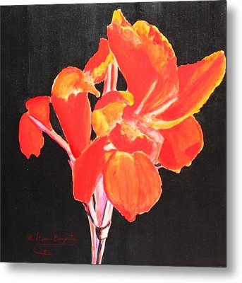 Metal Print featuring the painting Red Canna by M Diane Bonaparte