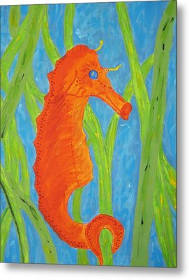 Metal Print featuring the painting Seahorse by Yshua The Painter