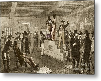 Slave Auction, 1861 Metal Print by Photo Researchers