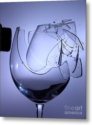 Speaker Breaking A Glass With Sound Metal Print by Ted Kinsman