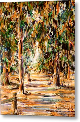 Metal Print featuring the painting Stanford Eucalyptus Grove by Dee Davis