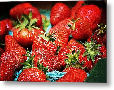Strawberries Metal Print by Cathie Tyler
