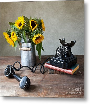 Sunflowers And Phone Metal Print by Nailia Schwarz