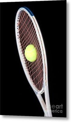 Tennis Ball And Racket Metal Print by Ted Kinsman
