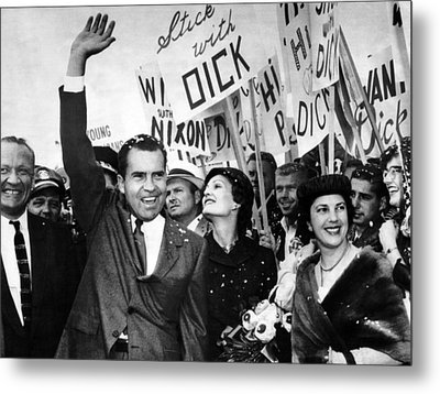 Vice President Richard Nixon And Wife Metal Print by Everett