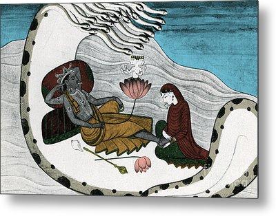 Vishnu And Lakshmi Metal Print by Photo Researchers