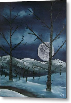 Metal Print featuring the painting Winter Night by Charles and Melisa Morrison