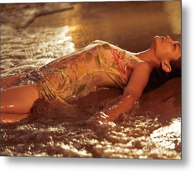 Woman In Wet Dress At The Beach Metal Print