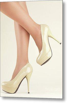Woman Wearing High Heel Shoes Metal Print by Oleksiy Maksymenko