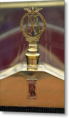 1910 Rolls-royce Silver Ghost Balloon Hood Ornament Metal Print by Jill Reger