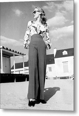 1940s Fashion A Peasant Top Metal Print by Everett