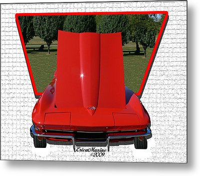 Metal Print featuring the photograph 1965 Corvette by EricaMaxine  Price
