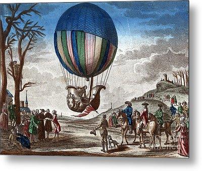 1st Manned Hydrogen Balloon Flight, 1783 Metal Print by Photo Researchers