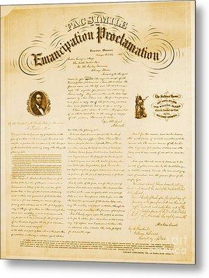 Emancipation Proclamation Metal Print by Photo Researchers