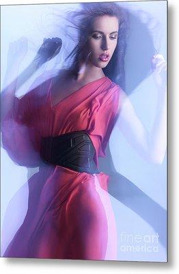 Fashion Photo Of A Woman In Shining Blue Settings Metal Print by Oleksiy Maksymenko