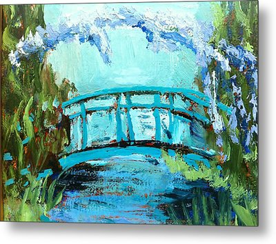 Monet's Bridge Metal Print by Joan Bohls