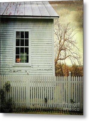 Old Farm  House Window  Metal Print by Sandra Cunningham