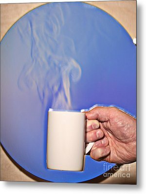 Schlieren Image Of Hot Coffee Cup Metal Print by Ted Kinsman