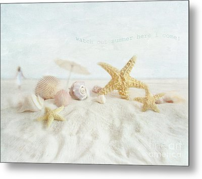 Starfish And Seashells  At The Beach Metal Print by Sandra Cunningham