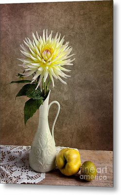 Still Life With Dahila Metal Print by Nailia Schwarz