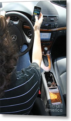 Texting And Driving Metal Print by Photo Researchers, Inc.
