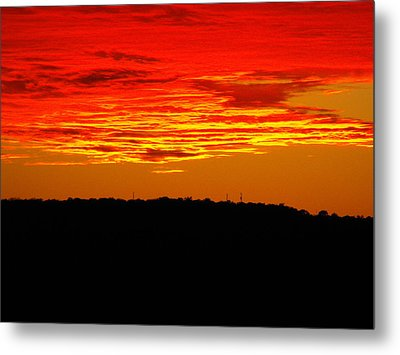 Winter Sunset In Texas Metal Print by Rebecca Cearley