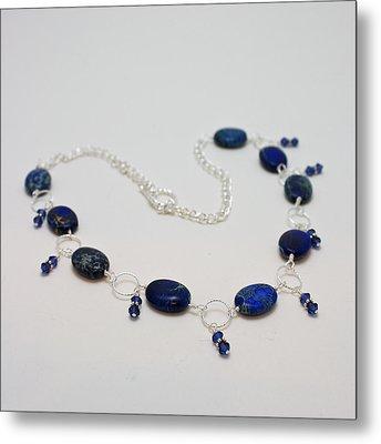 3589 Blue Sea Sediment Jasper Necklace Metal Print by Teresa Mucha