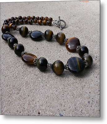 3595 Tigereye And Bali Sterling Silver Necklace Metal Print by Teresa Mucha
