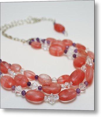 3606 Cherry Quartz Triple Strand Necklace Metal Print