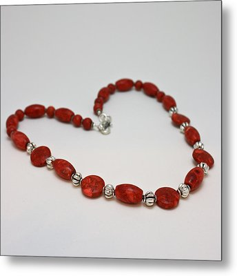 3612 Red Coral Necklace Metal Print