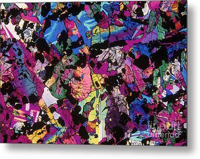 Moon Rock, Transmitted Light Micrograph Metal Print by Michael W. Davidson - FSU