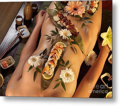 Nyotaimori Body Sushi Metal Print by Oleksiy Maksymenko