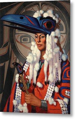 A Bellacoola Woman Wears A Raven Metal Print by W. Langdon Kihn