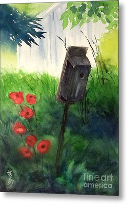 Metal Print featuring the painting A Bird House In The Geddes Farm --ann Arbor Michigan by Yoshiko Mishina