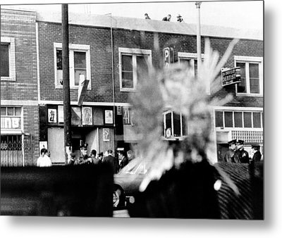 A Bullet Hole In A Storefront Window Metal Print by Everett