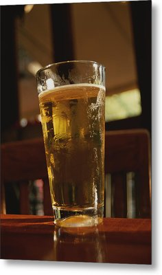 A Cool Glass Of Amber Beer Metal Print by Stephen St. John