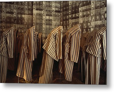 A Display Of Photographs And Uniforms Metal Print