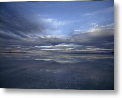 A Fading Sunset Reflects Off The Still Metal Print by Jason Edwards