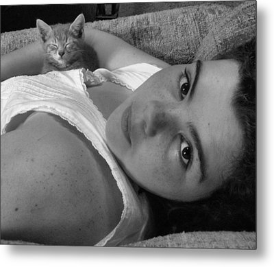 A Girl And Her Kitten Metal Print by Juliana  Blessington