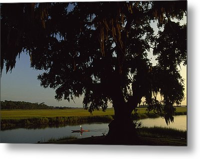 A Late Afternoon Kayaker In The Marshes Metal Print
