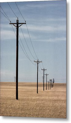 A Line Of Telephone Poles Travels Metal Print by George Grall
