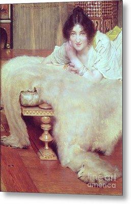 A Listener - The Bear Rug Metal Print by Sir Lawrence Alma-Tadema