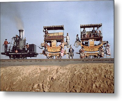 A Locomotive And Two Coaches Metal Print by Charles Martin