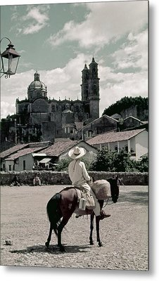 A Man On Horseback Looks At The Borda Metal Print by Luis Marden
