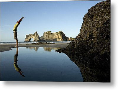 A Man Stretches His Back Yoga Style Metal Print by Dawn Kish