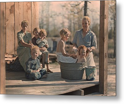 A Mother Bathes Her Children Metal Print by J Baylor Roberts