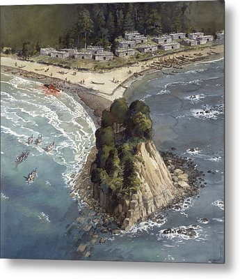 A Painting Depicts A Makah Indian Metal Print by Richard Schlecht