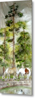 Metal Print featuring the painting A Peaceful Scene by Debbi Saccomanno Chan