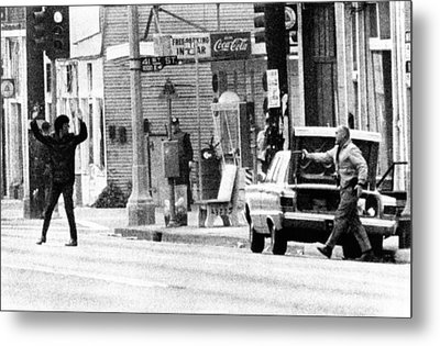 A Plainclothes Policemen Arrests An Metal Print by Everett
