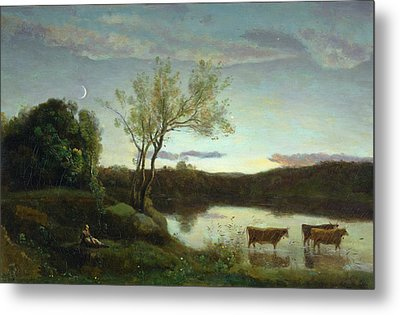 A Pond With Three Cows And A Crescent Moon Metal Print by Jean Baptiste Camille Corot